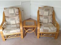 Pair of lovely cane conservatory chairs in good condition