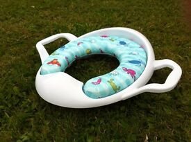 Soft padded toilet seat for toddlers and step