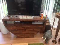 Jaipur sheesham solid wood half moon wooden tv unit.Excellent condition. As new!