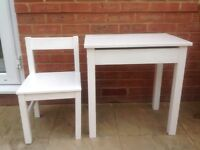 Kids solid wood table/desk with storage and chair in white