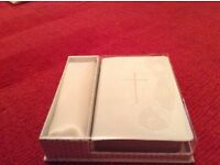 Bride's ivory bible with ribbon