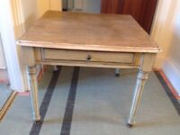 Lamp/ coffee table pale green distressed paintwork, with draw and brass feet