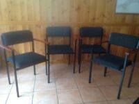 4 chairs with material seats