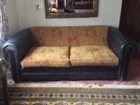 Pair of Leather and Fabric Sofas with Footstool