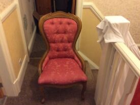 Rose coloured small bedroom chair