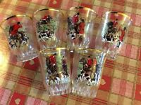 Vintage 6 hand painted shot glasses
