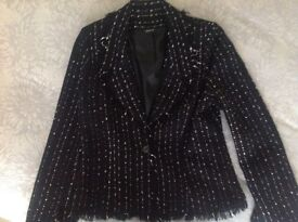 Black wool blazer style jacket size 10 with pale pink stitching