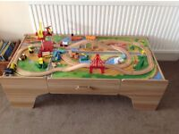 Childrens wooden train set with table