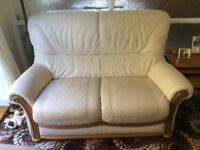 2 seater leather settee (cream) with wood trim