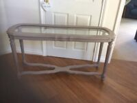 Glass topped console/hall table