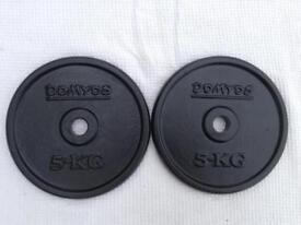 2 x 5kg Domyos Standard Cast Iron Weights