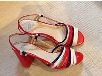 Size 5 M & S strappy sandals. Red, cream and navy.