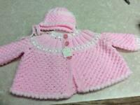 Baby Girls Hand Knitted Cardigan & Bonnet