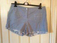 Pale blue and white reversible Shorts size 16 VGC