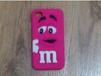 iPhone 4/4s pink M&Ms silicone case