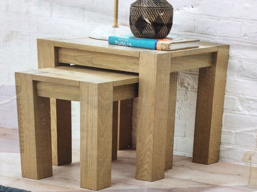 Solid American Oak Nest Of Tables, New / Boxed
