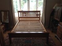 Small double bed frame solid wood (4 ft 6 in width)