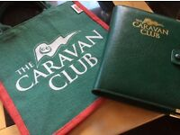 CARAVAN CLUB LEATHER HANDBOOK COVER & JUTE BAG - NEW