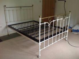 "Edwardian Cast Iron & Brass Bed 4' 6"""