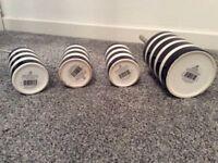 Navy white stripe bathroom accessories