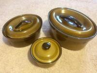 T G Green Church Gresley 1980's Set of Three Casserole Dishes
