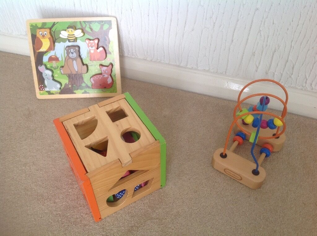 Wooden mini beads maze, animal puzzle and shapes