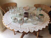 14 various glass storage jars, some kilner and kilner type