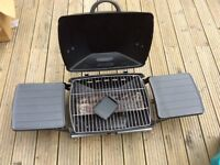 Folding gas BBQ complete with flexible gas pipe.