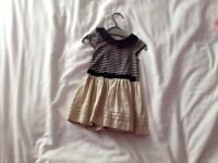 Girls dress navy and cream worn twice good condition