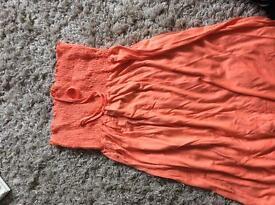 Long orange beach summer dress never worn size large (14-16)