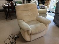 G Plan electric recliner armchair. Honey beige fabric, good condition. 4.2 m cable