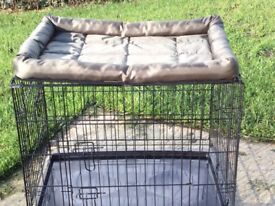 """Medium Dog Cage 29""""x24""""x20"""" As new condition. New waterproof bed included in sale"""