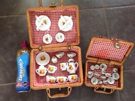 Two Toy Picnic Baskets with Accessories (Toys, Lego, Minion, Peppa Pig, Barbie, Disney, Christmas)