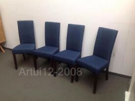 New Arina Dining Chairs Dark Blue with Walnut Legs Set Of 4 RRP£360