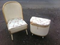 Vintage loom bedroom chair with underseat storage box and matching mini ottoman/stool