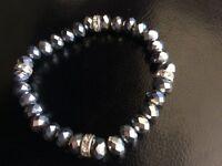 Glass bead and diamonte expandable bracelet
