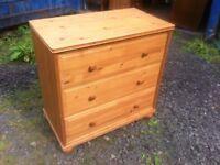 Pine three drawer chest