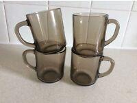 4 Smoke Brown Glass Mugs ARCOROC