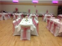 WEDDIND CHAIR COVERS & SASHES @80p, BACK DRAPES, CROCKERY & CENTER PIECE HIRE