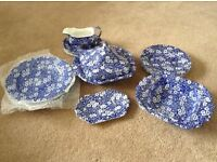 Blue vintage Calico burleigh Ware dinner set
