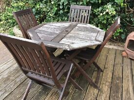 Wooden garden patio table and 4 chairs