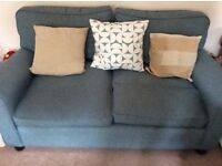 Laura ashley 2 seat sofa in teal, duck egg