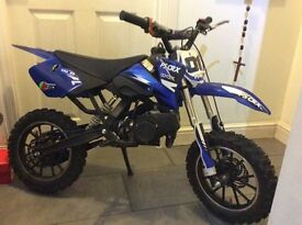 Mini dirt bike 49cc, ps crx coyote, comes with wulf suit and helmet, only used on the odd occassion