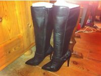 Next Ladies Black Leather Knee High Boots size 5