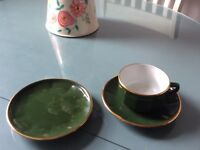 Apilco French gold & green coffee cups