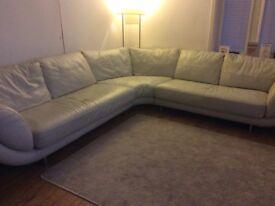 Cream leather corner sofa large footstool and swivel armchair ..Bridge of Don .exc condition