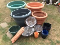 Gardening plant pots, hanging baskets and extras