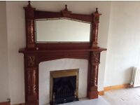 Cherry Mahogany Fireplace and matching overmantle.