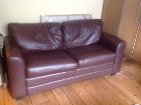 Brown leather sofa bed - must go ASAP!