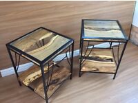 Oak and steel lamp tables